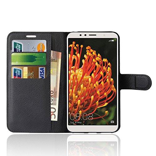 Anzhao Huawei Y6 2018 Custodia Flip Cover Portafoglio con Slot per Schede Protettiva Custodia in Pelle per Huawei Y6 2018 (Nero)