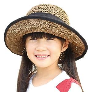 [ドリームハッツ] 帽子 キッズ uv 折りたたみ UVカット 女の子 54cm(キッズサイズ) ブラウン