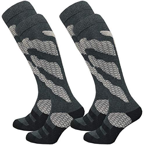 GAWILO – 2 paia di calzini da sci e snowboard THERMOLITE® da uomo, calzini funzionali con imbottitura speciale Motivo grigio scuro. 43-46