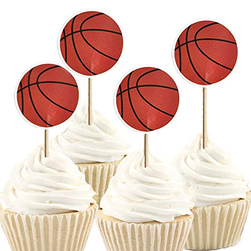 iMagitek 48 Pack Basketball Cupcake Toppers Decorations for Basketball Theme Party, Birthday Party, Baby Shower