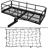 ARKSEN Foldable 60'x 24'x 14' Luggage Basket with Cargo Net Trailer Hitch Carrier Fit 2' Receiver, 500 lbs Capacity