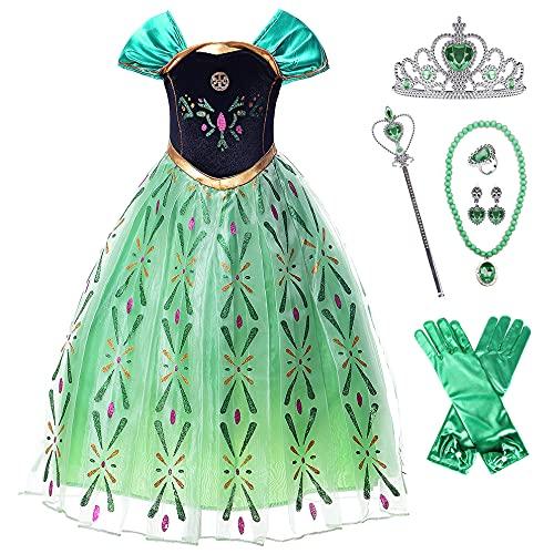 New front Disfraz de Princesa Anna Niña Disfraz de Frozen Vestido de Princesa Reina de Nieve Anna Cosplay de Carnaval Fiesta Cumpleaños Halloween Navidad Costume Infantil