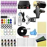 Wormhole Tattoo Kit Rotary Tattoo Machine Kit 10 Tattoo Ink 20 Tattoo Needles Complete Tattoo Kit for Beginners(TK088)