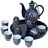 LUYIYI Set di Vino in Ceramica, Set di Famiglie Antico Stile Cinese, Vino brocca X1, Bicchiere di Vino X10, Vassoio x1