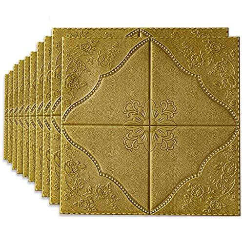 BLCVC 10 PCS 3D Wandaufkleber, Selbstklebende Wandpaneele wasserdichte PE Foam Pattern Venen Tapete Für Wohnzimmer TV Wand Und Home Decor (52,7 Sq Ft),Gold