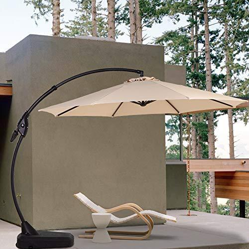 Grand patio Gartenschirm Sonnenschirm Neigbar mit Schirmständer, Ampelschirm mit Kurbelbedienung, Terrassenschirm für Garten, Deck,Schwimmbad, Outdoor,UV-Schutz 50+ (350cm,Champagner)