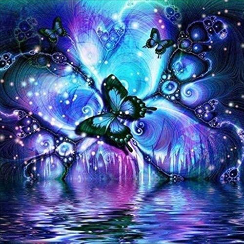 Sunnay Diamond Painting,5D Diamant Stickerei Full Drill Leuchtender Mond DIY Diamond Painting Dekoration Bilder Set Vollbild (Schmetterling, 30 * 30cm)