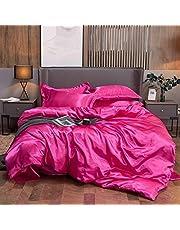 4-delige beddengoed set, 100% pure satijnen faux zijde, thuis textiel, dekbedovertrek platte vel kussenslopen,14,S
