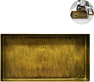 WINGOFFLY Vintage Brass-Tone Metal Rectangle Serving Tray Decorative Platters for Kitchen Bathroom Food Fruit Plate for Coffee Tea Snacks