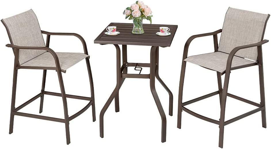 Crestlive Products Patio Bar Set, Aluminum Counter Height Bar Stools and Table Set All Weather Furniture in Antique Brown Finish for Outdoor Indoor, 2 PCS Bar Chairs with Table (Beige)