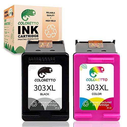 Cartouche d'encre remanufacturée COLORETTO pour remplacer Les Cartouches HP 303xl 303 XL(1 Noire,1 Couleur) à Utiliser avec Les imprimantes 6220 6230 6232 6234 6252 6255 6258 7120 Tango X Pack Combo