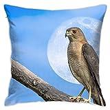 Funda de almohada decorativa para el hogar, diseño de rama de pájaro, luna, funda de cojín para regalo, hogar, sofá, cama, coche, 45,72 x 45,72 cm