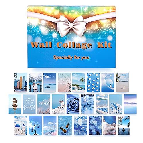 WeaArco 50 Stück Wandcollage Set Aesthetic, VSCO Poster Wohnheim FotoanzeigeCollage Druck Kit Ästhetik Collage Kit   Stilvolles Bilderset für das Wohnzimmer, Schlafzimmer (Blau)
