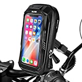HUANLANG Motorcycle Phone Mount Holder Waterproof Motorcycle Cell Phone Holder with Rain Cover ,360°Rotation Motorbike Rearview Mirror Mount for Phone Bag Large Storage Below 6.7 Inch