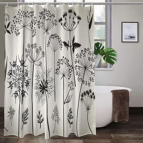 Duschvorhang, Blume, Kritzeleien, Zeichnungen, Queen-Size-Spitze, 12 Stück, Haken, wasserdicht, Polyestergewebe, Badezimmer