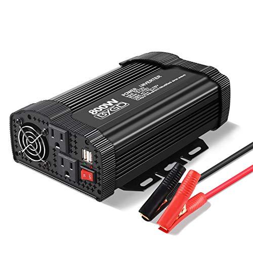 BYGD Power Inverter Truck/RV 12V DC to 110V AC Converter with USB Ports Car Inverter for car Cigarette Lighter Laptop iPad iPhone Tablet Smart Phone USB Car Charger Car Converter (800W)