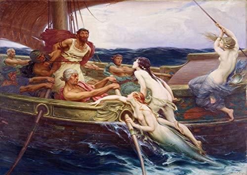 Pintura De La Lona 40x60cm Sin Marco James Herbert Draper: Ulises y las sirenas Fine Art Print /
