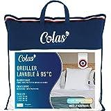 Colas Normand – Almohada Lavable a 95 °C – Suave – 65 x 65 cm – para hervir – Microfibra – Suave y cómoda – Lavable – Fabricación Francesa – Blanco