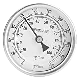 Annadue Termómetro bimetálico, termómetro Industrial bimetálico de 1/2 NPT, Doble Escala de Acero Inoxidable para ollas comunes para hervidores de Cerveza caseros.