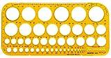 Aristo AR5033 - Cerchiometro, 45 cerchi + simboli, 260 x 130 mm, spessore: 1,5 mm, colore: Giallo trasparente