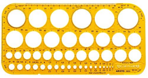 Aristo Kreisschablone (45 Kreise und Symbole, Maße: 260 x 130 mm x 1,5 mm) transparent gelb