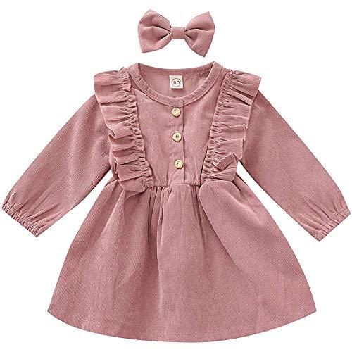 Baby Mädchen Kleid Kinder Kleinkind Cord Rüschen Langarm Tunika Solid Princess Party Kleid Mit Stirnband Bowknot Kleider Herbst Winter Rock Outfit (Color : Pink, Size : 3-4Y)