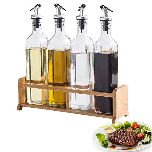 MAI&BAO Öl Flasche Glas Öl Essig Spender, Ölflasche küche Ölbehälter, Auslaufsicher Ausgießer Staubdicht, Sauce Cruet 500ML 4-teiliges Set