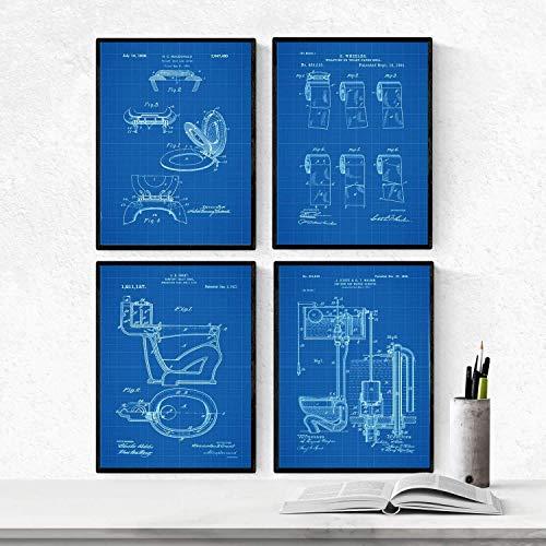 Nacnic BLAU Badezimmer Patent Poster 4er-Set. Vintage Stil Wanddekoration Abbildung von Toiletten, Klopapier und Alte Erfindungen. Verschiedene geometrische Klempnerei Bilder ohne Rahmen. Größe A4.