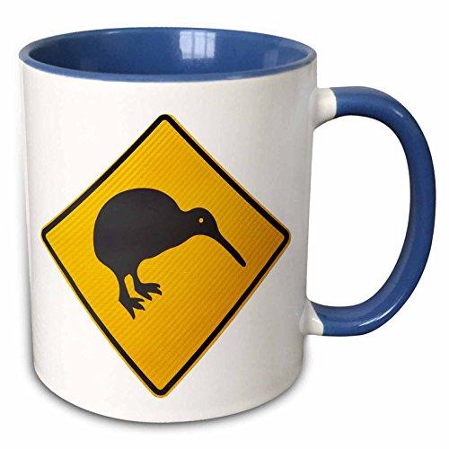 3dRose Kiwi Warning Sign, New Zealand Mug, 11 oz, Blue