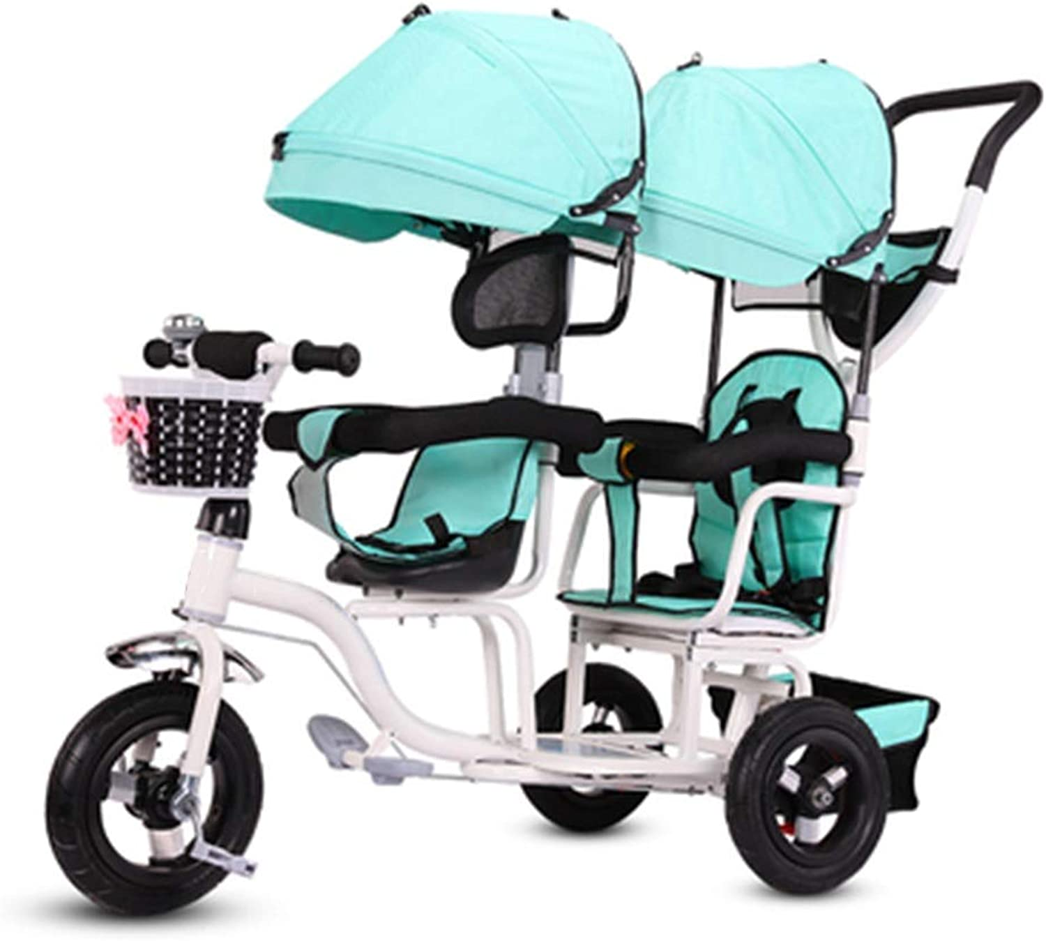YUMEIGE Kids' Tricycles Twin Kids Tricycle Baby Stroller with Rear Seat FivePoint Seat Belt 16 Years Old Birthday Gift Tricycle Kids Strollers Toddler Trike Load Weight 150kg (Boy Girl) Available