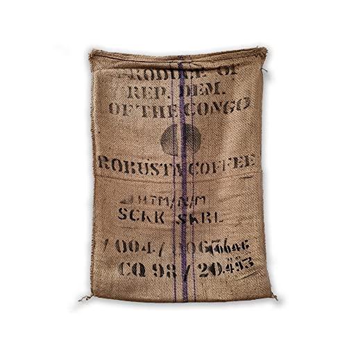 Mokaor Sacos de yute de café 70 x 100 cm, bolsa de tela Yuta para regalos, jardinería, decoración (dibujo – Congo robusto)