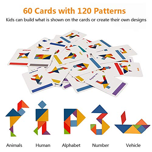 LiKee Wooden Pattern Blocks Jigsaw Puzzle Sorting and Stacking Games Montessori Educational Toys for Toddlers Kids Boys Girls Age 3+ Years Old and Classroom (7 Pieces and 60 Cards in Iron Box)