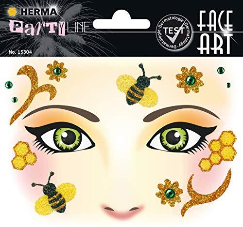 HERMA 15304 Face Art Sticker Honey Bee Gesicht Aufkleber Glitzer Sticker für Fasching, Karneval, Halloween, dermatologisch getestet