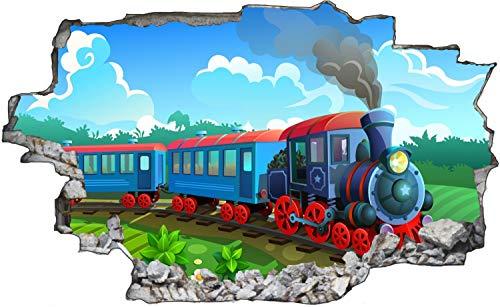 Kindermotiv Zug Lok Zeichentrick Wandtattoo Wandsticker Wandaufkleber C1545 Größe 40 cm x 60 cm