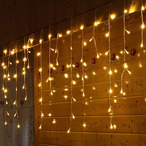 Orderking 1.5x0.7 m LED-Fenster-Vorhang-Schnur-Licht Eiszapfen Girlande Lichter für Schlafzimmer Garten Terrasse Zimmer Party Außen Valentinstag Deko, mit Stecker, Gelb, Weiß, Farbe