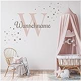 Wandsticker personalisiert Sticker Aquarell Tiere mit Name Wandtattoo für Kinderzimmer Babyzimmer Spielzimmer Mädchen Junge Y037 (Nr. 14 Sterne, Mit Wunschname)
