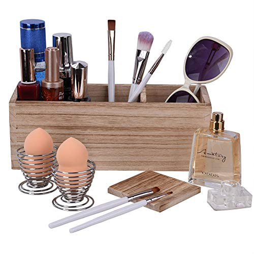 Pinselhalter Kosmetikorganiser Mit 2 Schwammhalter, Holz 3 Verstellbare FäCher Kosmetik Schreibtisch Organizer, Rustikal Schmink Aufbewahrung