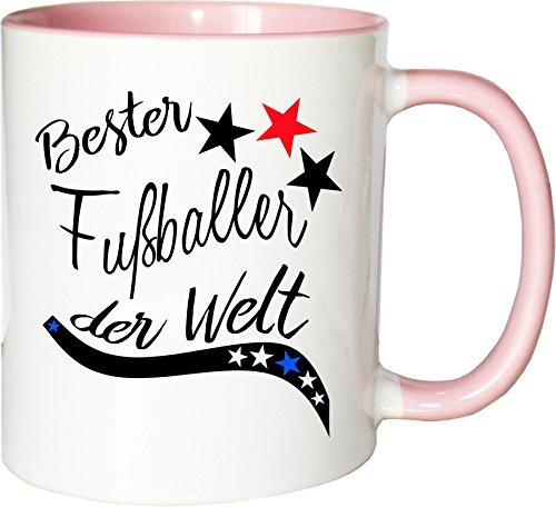 Mister Merchandise Becher Tasse Bester Fußballer der Welt. Kaffee Kaffeetasse liebevoll Bedruckt Beruf Job Arbeit Weiß-Rosa