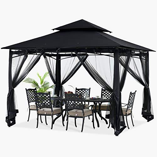 ABCCANOPY 11x11 Patio Gazebo for Patio Double Roof Soft Canopy with Netting Garden Backyard Gazebo...