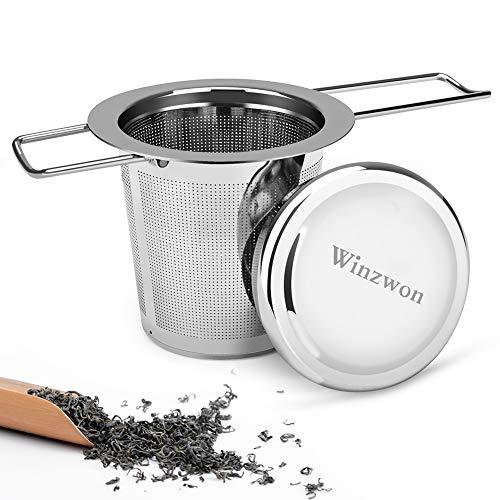 Winzwon Teesieb, Teefilter mit Deckel, Abtropfschale, 304 Edelstahl TeeSieb für losen Tee, Premium Sieb, Faltbare Griffgestaltung Passend für die Meisten Tee-Tassen und Tee-Schalen (Pack of 1)