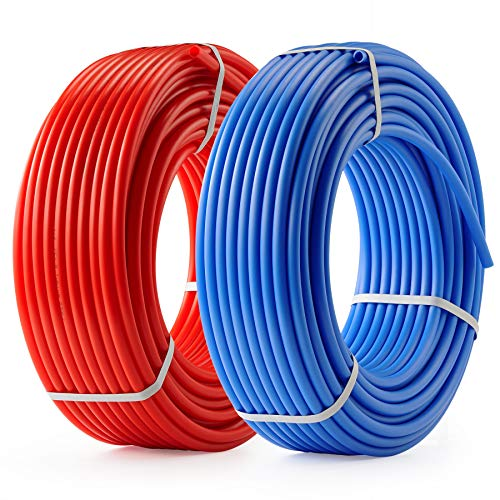 CO-Z PEX Water Pipe PEX Tubing 1/2 Inch, 2 Rolls of 300ft PEX-B Coil Hose, PEX Water Tubes for Water Line & RV Sewer Hose, PEX Radiant Heat Tubing(Red+Blue)