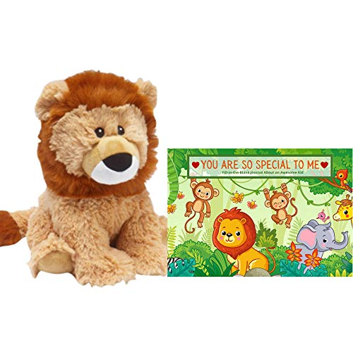Warmies Lion Cub Stuffed Animal | Calming Comfort Weighted Heating Pad, Microwavable and Lavender Scented, Bundled with a Customizable Baby Animal Greeting Card Book for Kids | Safari/Jungle Theme