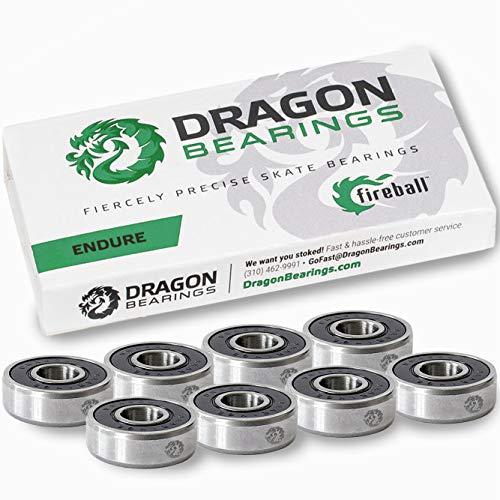 Fireball Dragon Precision Skateboard Bearings | 608 Bearing for Skateboards, Longboards, Inline Skates, Roller Skates, Spinners (Endure, 8-Pack)