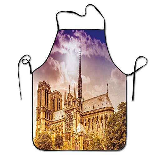Cathédrale Notre Dame Paris Paris Gothique Arbres Forêt Soleil Nuageux Ciel Tablier pour Cuisine BBQ Barbecue Cuisine Chef Cadeau pour Femmes/Hommes