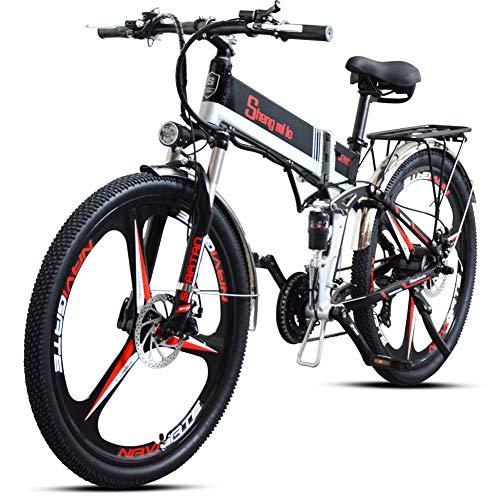 Shengmilo e-bike elektrische fiets 26 inch e-bike mountainbike inklapbaar elektrische fiets e-bike heren dames 350 W Moto 48 V 12,8 A lithium batterij Shimano 21 versnellingen dubbele hydraulische schijfrem