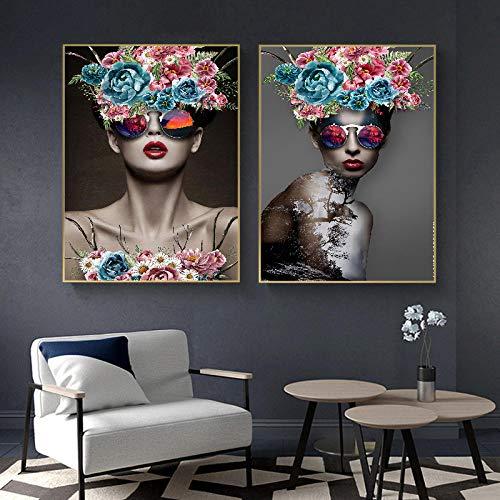 WKHRD Color Flor Gafas de Sol Mujer Blanco y Negro Pintura Decorativa Simple Sala de Estar Estudio Pintura de Alta Gama Estilo nórdico | 50x70cmx2 (Sin Marco)