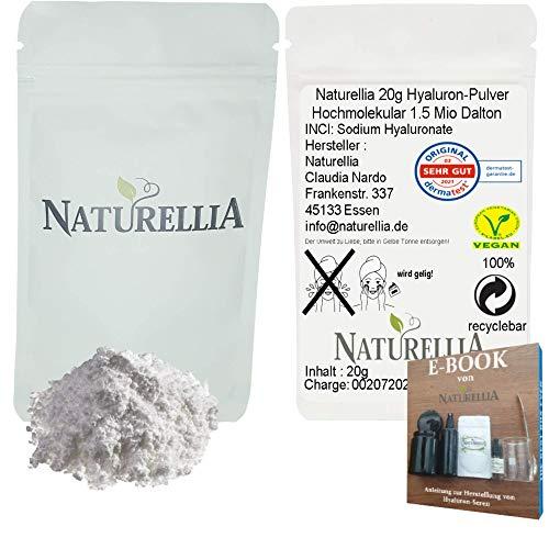 Naturellia 20g Vegan Hyaluronsäure Pulver 1.5Mio Dalton pur hochmolekular hochdosiert für Kosmetik Serum Creme herstellung DIY geeignet