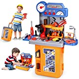3 in 1 Kids Tool Bench - 64 cm High Pretend Play Transformable Workbench Toy Tool Set with Electric Drill, Construction Toy Vehicles & Travel Suitcase - Kids Tool Set for Toddlers Boys & Girls