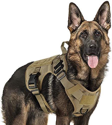 rabbitgoo Arnes Antitirones Perro Táctico de Arnés Perros Grande para Perros de Trabajo Militar con 2 Anillos de Metal Entrenamiento Ajustable sin Tirones para Caminar Cazar Marrón XL