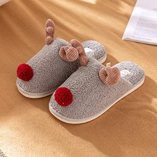 Treslin Memory Foam Slippers,Perfekte Weihnachtsgeschenkbaumwollhefterzufuhren weiblicher Netter Warmer Innenwinter der Plüschwinterpaare@39-40_Hellgrau